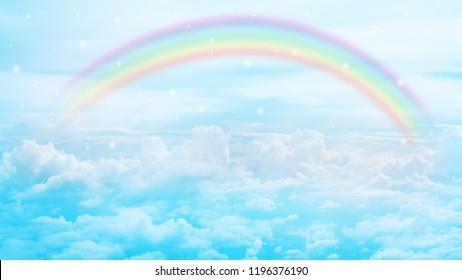texture of cloud with rainbow on blue sky