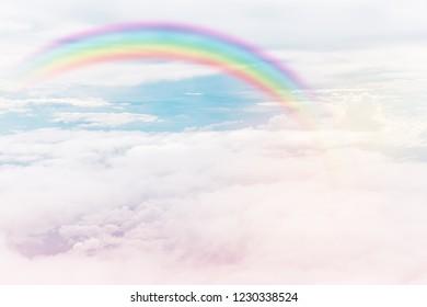 texture of cloud with rainbow on blue sky
