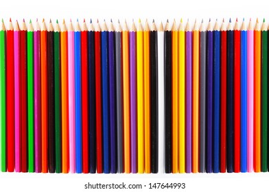 texture of colored pencils on white background