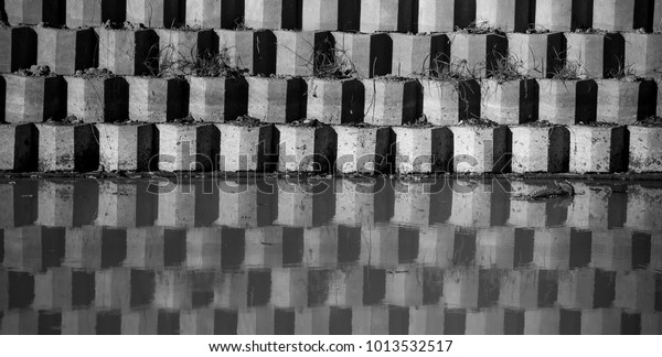 Texture Concrete Reflection Background Usageriver Bank Stock