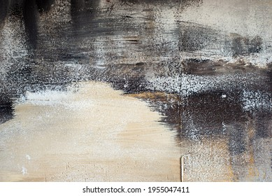 Texture concrete wall with a painted layer of plaster and paint, beige, gray, black architecture abstract background.