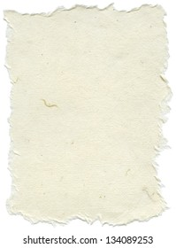 Texture of creamy white rice paper with torn edges. Isolated on white background.