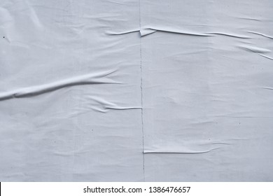 texture of crinkled, creased and wrinkled blank white paper poster