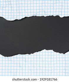 texture of crumpled white paper in a cage, blue lines, torn edges on a black background