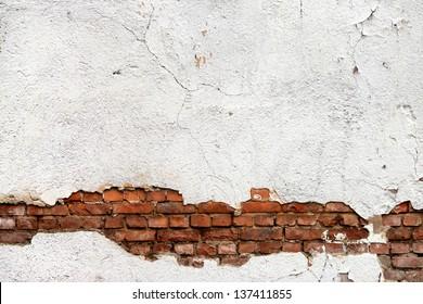 Texture of damaged brick wall