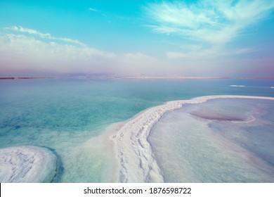 Texture of Dead Sea. Seascape, unique sea. Salty sea shore. Israel