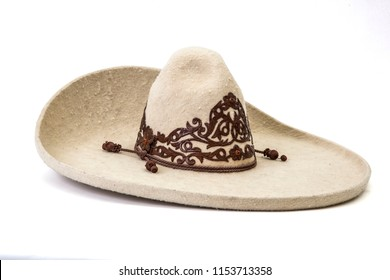 texture detail of charro white hat in white background