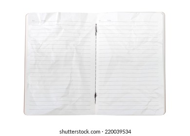 Texture of double page crumpled paper isolated on white background with clipping path
