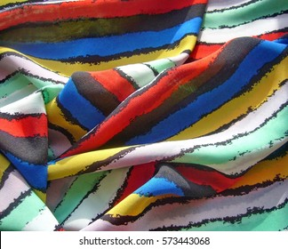 The texture of the fabric. Bright summer striped fabric.