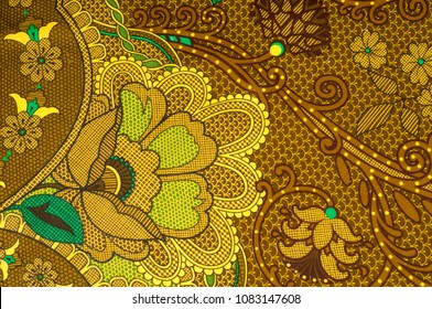 texture, fabric with a color pattern, brown green flowers. floral images to the forefront of fashion, here is the digital print of Mikado, which is at the haute couture level. This tough, mixed fabric