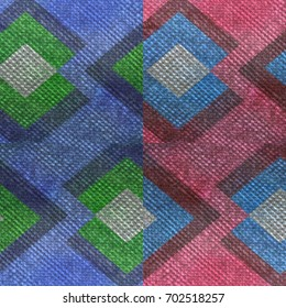Texture, fabric decorated with diamonds divided into two vertical stripes with different color shades