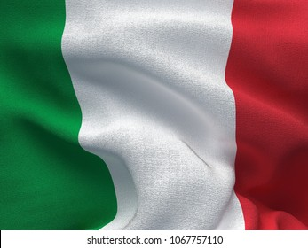 Texture of a fabric with the image of the flag of Italia, waving in the wind.