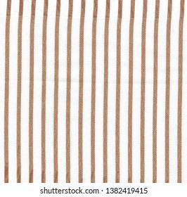 Texture of fabric in white and brown stripes