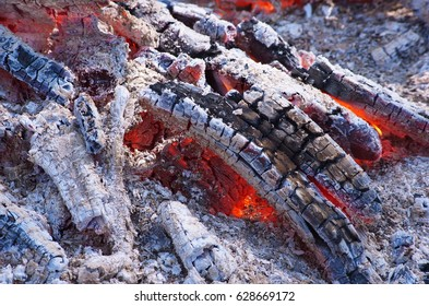 Texture fire bonfire embers. Embers, smoldering coals background. Orange and red embers texture. Burning fire wood in the fire. Glowing embers great for background.