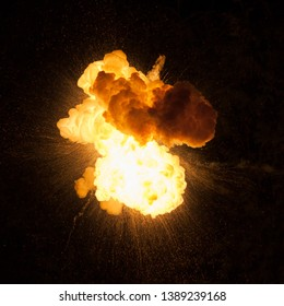 Texture of fire and smoke over a black background. Bomb explosion