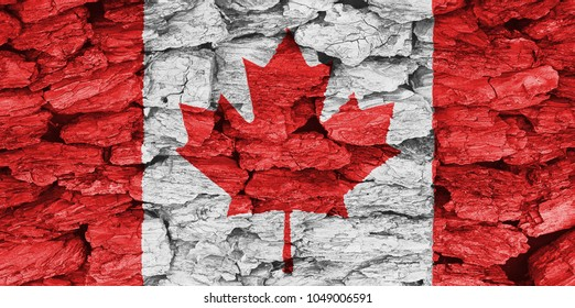The texture of the flag Canada on a decorative dry tree bark.
