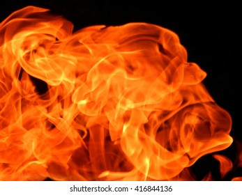 The texture of the flames on a black background