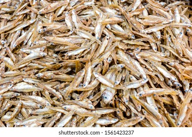 Texture food background of stockfish. Small dried fish at a street market in Kathmandu, Nepal.