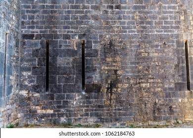The texture of the fortress walls in the castle