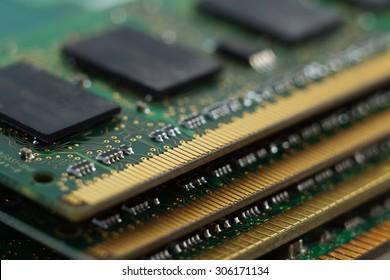 Texture of four Random Access Memory for servers. Macro