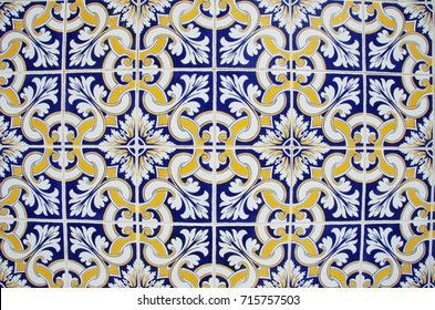 texture of geometgrical tiles of Portugal