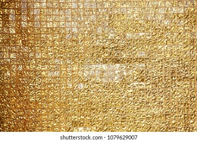 texture of golden tile mosaic background.