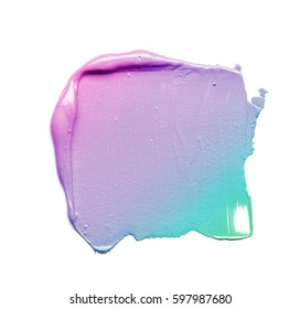 Texture of a gradient cream smear isolated on white background. Gradient smear of cream isolated on a white background. Texture of gradient smear of cosmetic cream on white background