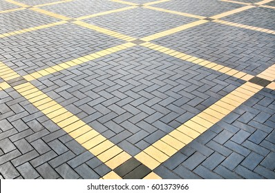 Beautiful Texture Of Gray And Yellow Patterned Paving Tiles On The Ground Of Street,  Perspective View
