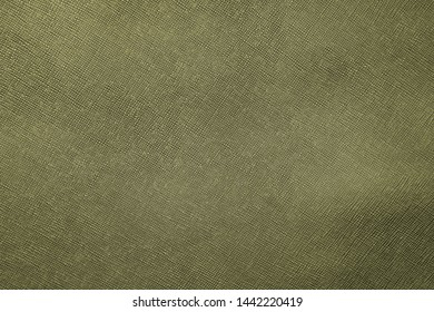 Texture of green natural leather with lines and bumps. Backdrop or background.