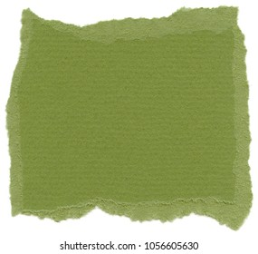 Texture of Islamic green fiber paper with torn edges. Isolated on white background.