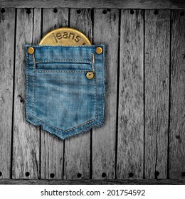 Texture of jeans on the wood.
