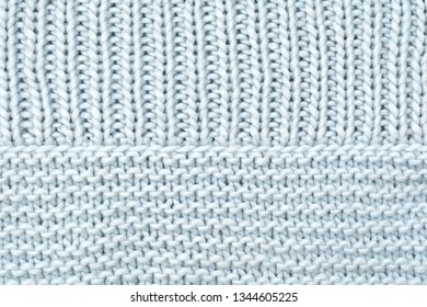 Texture knitted wool fabric from the front and purl loops