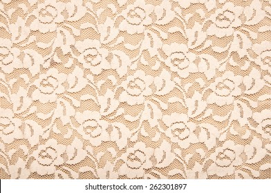 The texture of lace. Elegant beige lace. Floral fabric texture.