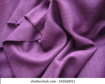 Texture of linen cloth, purple linen fabric