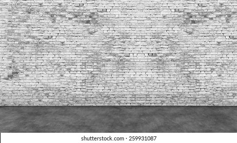 Texture of long empty white brick wall and foreground