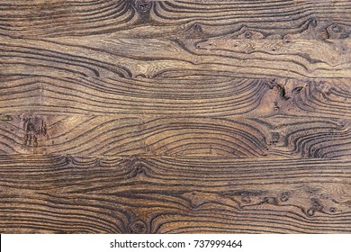 The texture of mahogany. Old table or floor, brown boards. Wooden background.