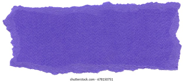 Texture of Majorelle blue fiber paper with torn edges. Isolated on white background.