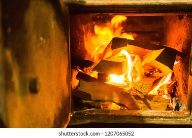 The texture of the metal. Burning fire in the furnace.