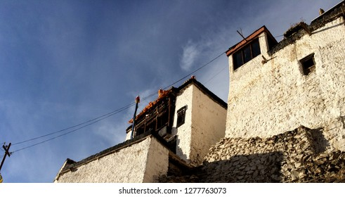 Texture of monumental monastery in Ladhakh with sky as the background