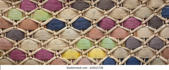 Texture of a multi-colored wicker basket