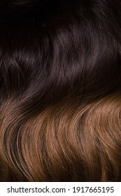 A texture of natural looking synthetic dark brown and walnut wavy curly hair