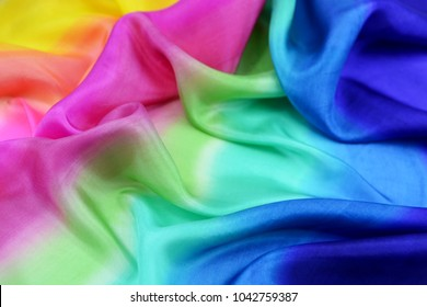 Texture of natural silk fabric multi color for backgrounds