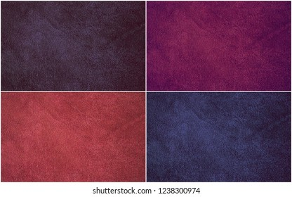 Texture of natural suede in different colors