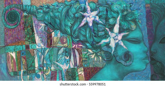 Texture, oil, painting, digital post-processing, bright color, abstract painting,  girl on the beach, flowers, field of flowers, lots of flowers ,  female figure abstract , artist Roman Nogin