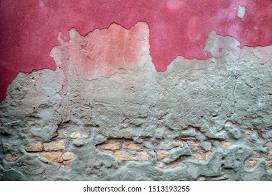 Texture old brick wall with pink stucco. Background.