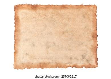 Texture old grunge canvas fabric burn edge on white background