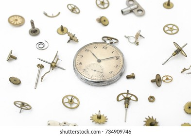 texture of the old mechanical pocket watches and details