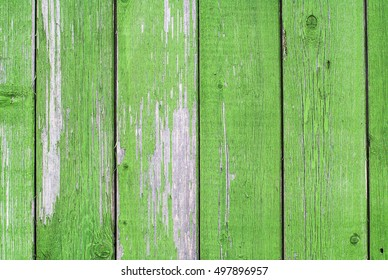 texture of the old painted green boards,