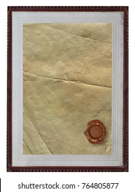 texture of old paper with vintage frame and wax seal