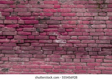 texture of a old pink brick wall